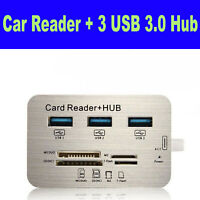 USB 3.0 Hub Aluminum 3 PortMS SD M2 TF Multi-In-1 Memory Card Reader Adapter