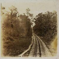 Linee Da Chemin Da Ferro Vietnam Foto Placca Da Lente Stereo L3 Vintage Ca 1910