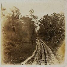 Lignes de Chemin de fer Viêt Nam Photo Plaque de verre Stereo L3 Vintage ca 1910