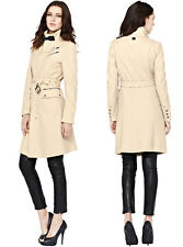 Knee Length Zip Wool Patternless Coats & Jackets for Women