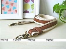 Canvas Leather Cross Shoulder Bag Messanger Replacement Cord Strap Brown White