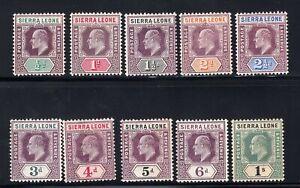 1904-05 Sierra Leone. SC#77-86. SG#86-95. Mint, Hinged/Never Hinged, VF