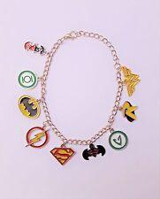 DC Heroes Justice League Metal w/Enamel Charms Silver Bracelet