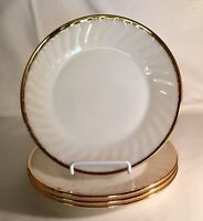 "4 Fire King White With Gold Trim Swirl Golden Anniversary 9 1/8"" Dinner Plates"