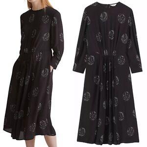 TOAST lovely oversized black print boho midi Luna  dress size 16 *Flaw*