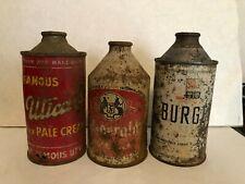 3 Dumper Cone Top Beer Cans, Utica Club, Burger, Fitzgerald's