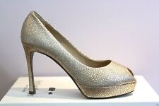 YSL Yves Saint Laurent Metallic Peep Toe Palais 80 Platform Pumps 40 10 $795