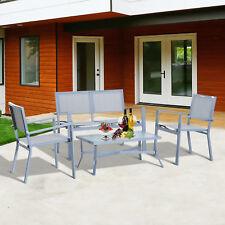 OUTSUNNY - Set Mobili da Giardino 4pz Multifunzionale 2 Sedie, Panca e Tavolino