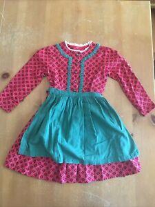 Child Girls Youth Vintage German Bavarian Dirndl Dress W/ Apron Size 6-8