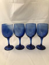 """Four (4) Hand Blown Cobalt Ombre Wine/Water Glasses 7"""""""