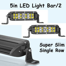 2Pcs 5inch CREE 120W Super Slim Single Row LED Light Bar Spot Combo 6000K Beam