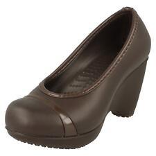 Ladies Crocs Wedge Heel Slip on Shoes 'lena' Brown UK 2 Standard