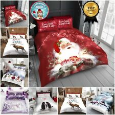 Christmas Duvet Cover with Pillowcases Bedding Set Santa Deer Single Double King