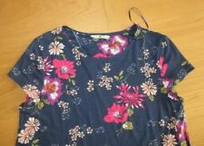 Ladies TU navy blue pink floral short sleeve tunic top dress,  size 12