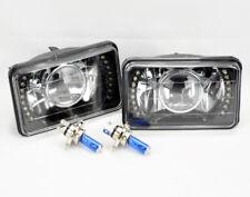 "4x6"" H4 Black Chrome Glass LED DRL Projector Glass Headlights Conversion Oldsmob"