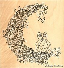 Owl Twiggy Moon Wood Mounted Rubber Stamp IMPRESSION OBSESSION - NEW, F2407