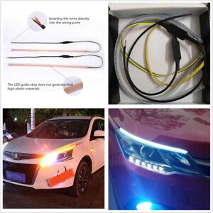 2x 60cm White+Amber LED Car DRL Daytime Running Light+Flowing turn Signal Lights