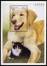 Hovawart & Cat Dog Stamp Mini Souvenir Sheet Bhutan 1997 Mint Mnh