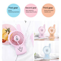 AU_ HB- Mini Portable Handheld USB Rechargeable Cooling Fan Home Desktop Air Coo