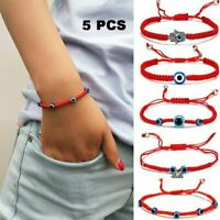 5pcs/set Lucky Evil Eye Beaded Bracelet Rope String Braid Bangle Owl Palm Charm