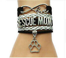 Infinity Love RESCUE MOM With Pets Paw Print Charms Suede Leather Bracelet