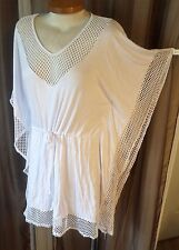 NWT White Beach Cover Up L Pool Dress Swim Top Tunic NEW Woman Lady Large Angel