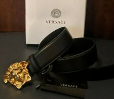 NEW Black Leather Versace Gold Medusa Belt 36 inches / 90cm