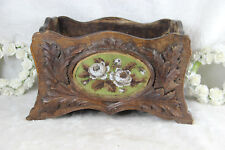 Antique German wood black forest carved Jardiniere planter oval embroidery rare