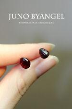 Natural cute Garnet stone earrings silver stud A Pair