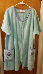 STAN HERMAN Vintage Turquoise/Purple Chenille Front Zip Up Short Robe Size Large