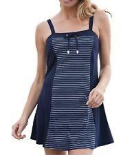 Swim Dress Suit Woman's plus size 1X, 14, Navy Blue One Piece with power mesh