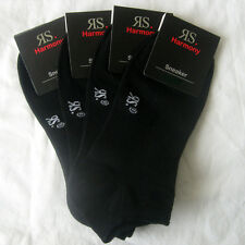 4 Paar Herren Sneaker Socken Füßlinge Baumwolle mit Elasthan schwarz 47 48 49 50