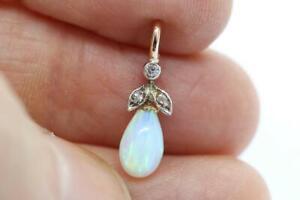 Finest Antique Edwardian 9ct Gold, Opal & Rose Cut Diamond Charm/Pendant