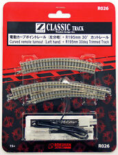 Rokuhan R026 Curved Remote Turnout Left Hand & R195mm 30º Track (1/220 Z Scale)