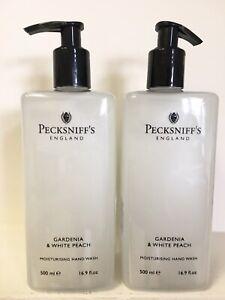 2 x Pecksniff's GADENIA and WHITE PEACH Hand Wash Soap 16.9 oz. 500mL Pump