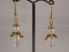 Gold Tone Clear Angel Hook Drop Earrings - Handmade & New!!