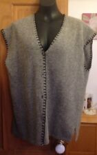 WALLIS GREY SLEEVELESS BUTTON UP LAMBSWOOL CARDIGAN - SIZE S/M