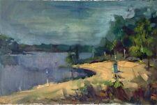 "Russischer Realist Expressionist Öl Leinwand ""Fluss"" 58x40 cm"