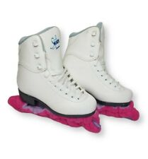 New listing Soft Skate by Jackson Girls Figure Skates White and Blue Size Youth 12 w/ Guards