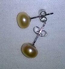 Peach Fresh Water Pearl, 925 Sterling Silver Posts/Back Earrings, Pierced Ears