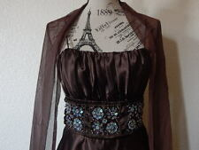 KIKI women's  cocktail dress embroidery w/ scarf, brown color, Size M.  Made USA