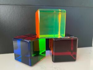 "Set of 3 VASA Velizar Mihich Cast Acrylic Cubes 2-1/4"" Signed by Artist"