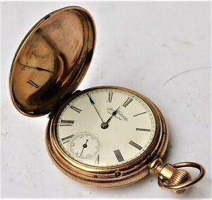 NO RESERVE 1887 Full Hunter Waltham Gold Plated Pocket Watch Vintage Antique