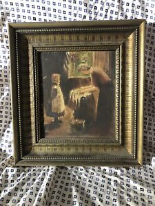 Beautiful Early 1900's Oil Painting On Board Mother And Daughter