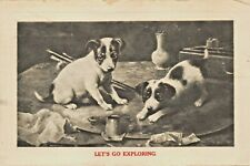 Lets Go Exploring-Fox Terrier Chiots Play With Artiste PALETTE-1912 Carte
