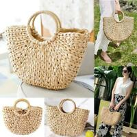 Women Wicker Handbag Totes Summer Beach Straw Woven Retro Rattan Basket Bag