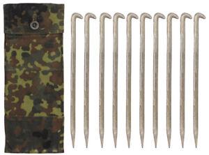 BW Bundeswehr 10 Stück Zeltheringe Aluminium Alu Erdnagel Zelt Hering m.Tasche