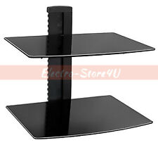 Double 2 Floating Black Glass Shelf Wall Mount Bracket Under TV AV DVD Stand