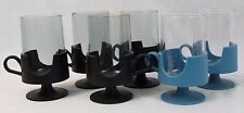 Set of 6 Retro Mid Century GLAS-SNAP CORNING Cup Mugs Black Blue Plastic Glass