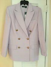 Ralph Lauren double breasted linen blend purple  jacket blazer size 8 NEW w/tag
